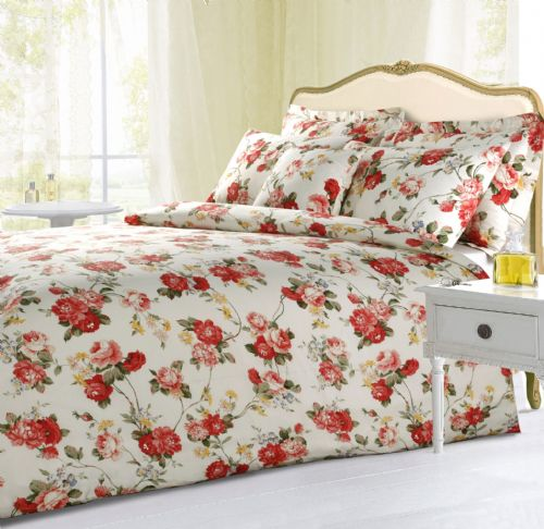 CREAM COLOUR FLORAL ROSES DESIGN REVERSIBLE BEDDING DUVET QUILT COVER SET